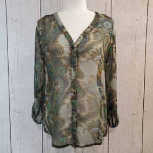 Francescas Sheer Green Paisley Blouse Size M